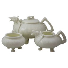 Belleek Ireland Chinese Dragon Tea Pot, Creamer and Open Sugar Bowl with 1st Black Mark