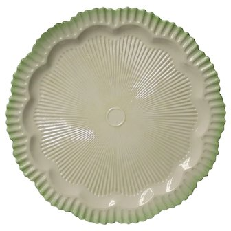 "Belleek 16"" Platter with Scalloped Mint Edge and 2nd Black Mark"