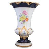 Meissen Gilded Cobalt Blue Floral Trumpet Vase