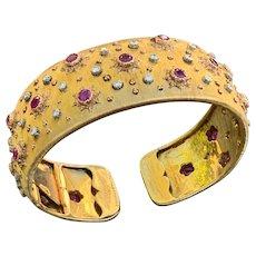 Buccellatti Yellow Gold Ruby and Diamond Bangle