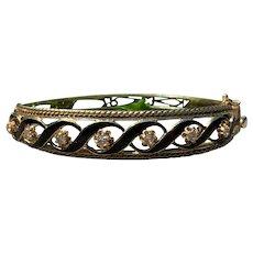 Yellow Gold Black Enamel and Diamond Bangle Bracelet