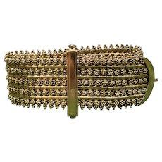 19K Yellow Gold Wide Buckle Bracelet