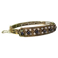 14K Yellow Gold Sapphire and Pearl Bangle