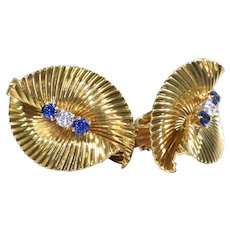 Tiffany and Company Earrings Sapphire and Diamond Earrings 18K Yellow Gold Earrings - EA 308M