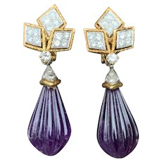 18K Yellow Gold Amethyst and Diamond Dangle Earrings