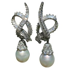 Platinum Diamond and South Sea Pearl Earrings