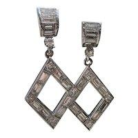Platinum Baguette Diamond Dangle Earrings