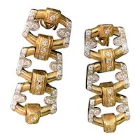 18K Yellow Gold and Diamond Dangle Earrings
