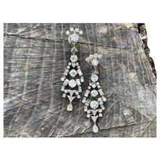 Art Deco Platinum and Diamond Chandelier Earrings