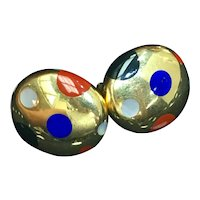 Tiffany & Co Yellow Gold Blue Lapis, Black Jade, Crimson Jasper and Mother of Pearl HardStone Button Earrings