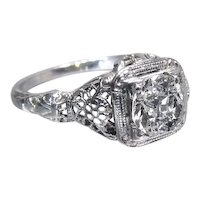 Art Deco Diamond Engagement Ring with Old European Cut Diamond