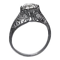 Art Deco Filigree Engagement Ring with Old European Cut Diamond