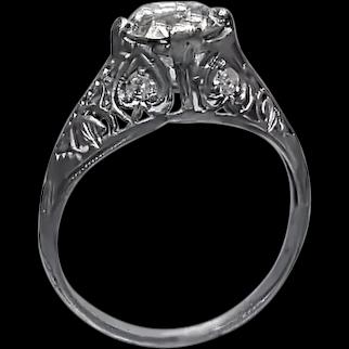 Art Deco Filigree Engagement Ring with Old European Cut Diamond