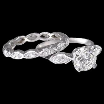Vintage Engagement Ring Diamond Engagement Ring Platinum Engagement Ring  - ER 495M
