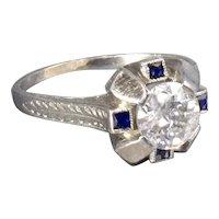 Art Deco 1920s Diamond Engagement Ring with Old European Cut Diamond