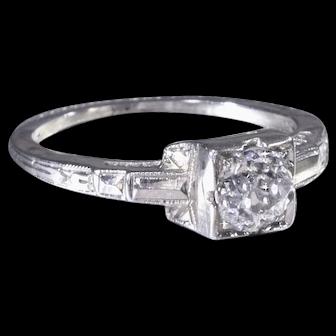 Vintage Engagement Ring Art Deco Engagement Ring with Old European Cut Diamond 18K White Gold Wedding Ring  - ER 632M