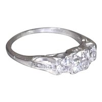 Art Deco Diamond Engagement Ring with 3 Stone Old European Cut Diamond