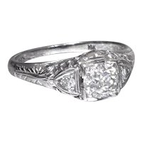 Art Deco Diamond Engagement Ring 18K White Gold with Old European Cut Diamond