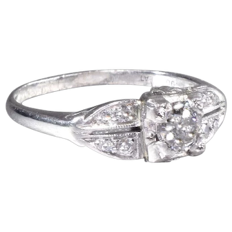 Vintage Engagement Ring with Old European Cut Diamond Platinum Wedding Ring - ER 649M