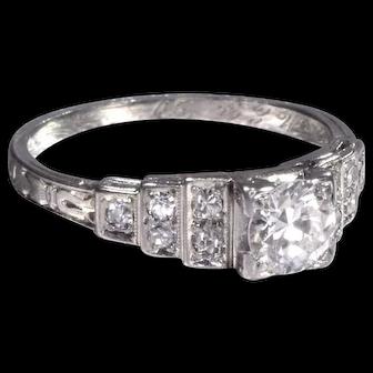 Vintage Engagement Ring Art Deco Engagement Ring with Old European Cut Diamond Platinum Wedding Ring - ER 652S