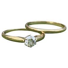 Retro Yellow Gold Engagement Ring Set