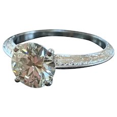 Platinum Art Deco Old European Cut Diamond Engagement Ring