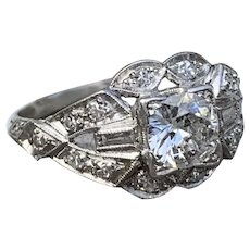 Art Deco 1920s Diamond Engagement Ring with Old European Cut Diamond