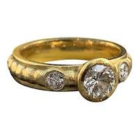 18k Yellow Gold Vintage Diamond Engagement Ring