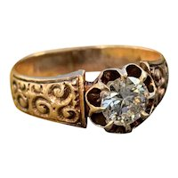 Victorian 10K Pinkish Gold Old European Cut Diamond Engagement Ring