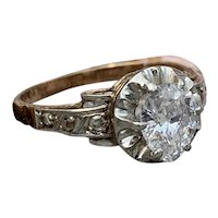 Edwardian Pear Shape Diamond Engagement Ring