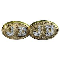 "18K Yellow Gold and Diamond Initial ""J.D."" Men's Cufflinks"