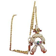 Chopard 18K Yellow Gold Happy Diamond Clown Pendant Necklace