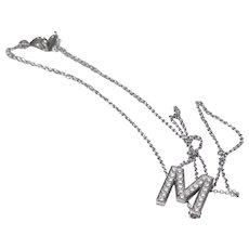 "Tiffany & Co Platinum Diamond ""M"" Pendant Necklace"