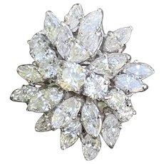 White Gold Marquise Diamond Starburst Cocktail Statement Ring