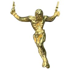 18K Yellow Gold Salvador Dali Crucifix Pendant