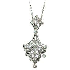 Art Deco Platinum and Diamond Drop Necklace