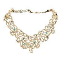 18K Yellow Gold, Diamond and Emerald Choker