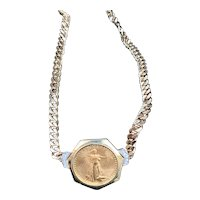 Gold Liberty Coin and Diamond Choker Necklace