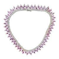Pink Sapphire and Diamond Dramatic Choker Necklace
