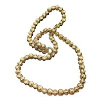 14K Yellow Gold Long Gold Bead Necklace