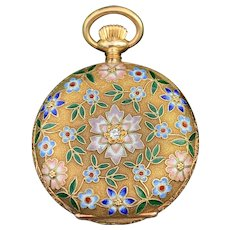 Victorian Gold and Enamel Floral Pocket Watch