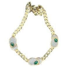 18K Yellow Gold Cabochon Emerald and Diamond Choker Necklace