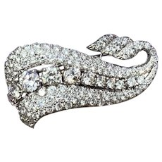Platinum Diamond Swirl Brooch