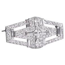Tiffany & Co Platinum Art Deco Diamond Brooch Pin