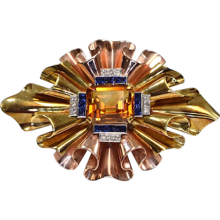 Tiffany & Co Yellow and Pink Gold Retro Citrine, Sapphire and Diamond Brooch Pin