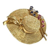 Vintage Yellow Gold Hat Brooch with Sapphires, Rubies and Diamonds