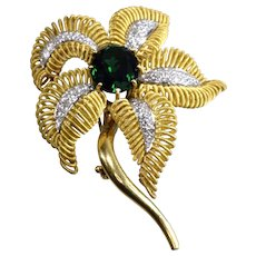 Vintage Green Tourmaline and Diamond Flower Brooch