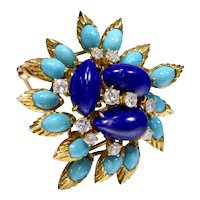 18K Yellow Gold Lapis, Turquoise and Diamond Brooch