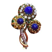 18K Yellow Gold Green Enamel, Lapis and Diamond Brooch