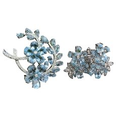 18K White Gold and Blue Topaz Pin and Earring Set